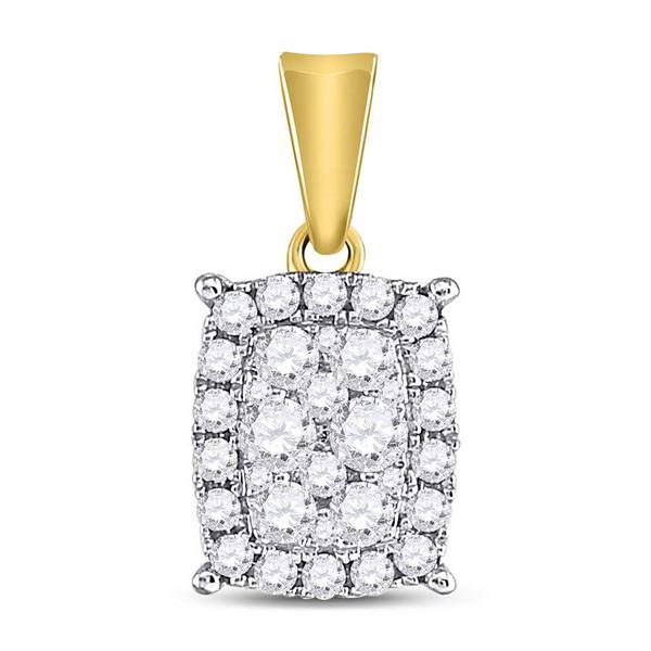 Round Diamond Rectangular Cluster Pendant 1/2 Cttw 14KT Yellow Gold