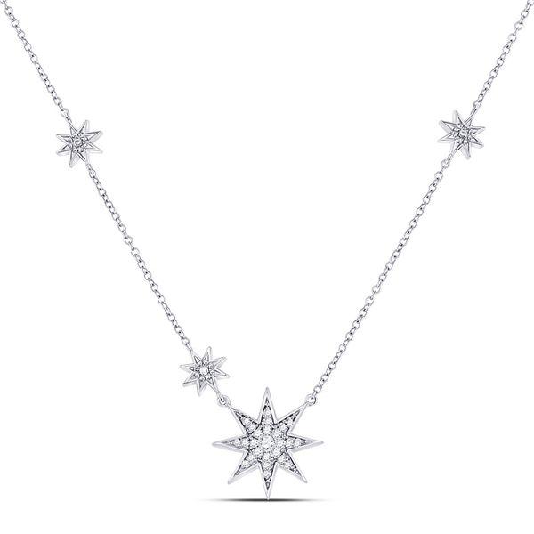 Round Diamond Starburst Fashion Necklace 1/5 Cttw 14KT White Gold