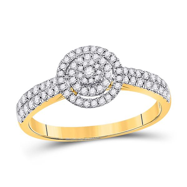 Round Diamond Halo Cluster Ring 3/8 Cttw 10KT Yellow Gold