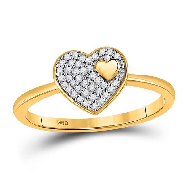Round Diamond Heart Ring 1/10 Cttw 10KT Yellow Gold