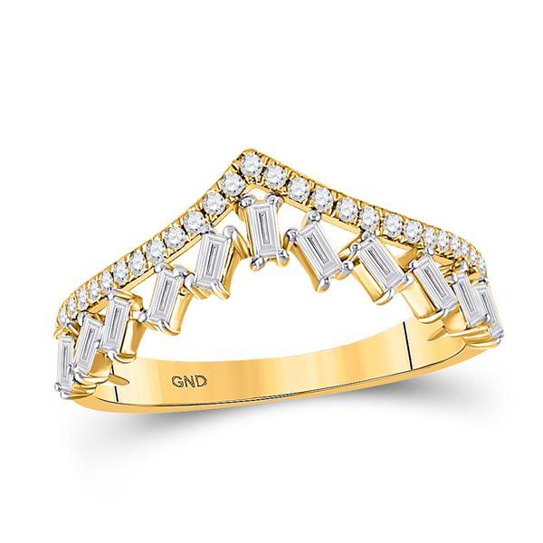 Baguette Diamond Chevron Band Ring 3/8 Cttw 14KT Yellow Gold