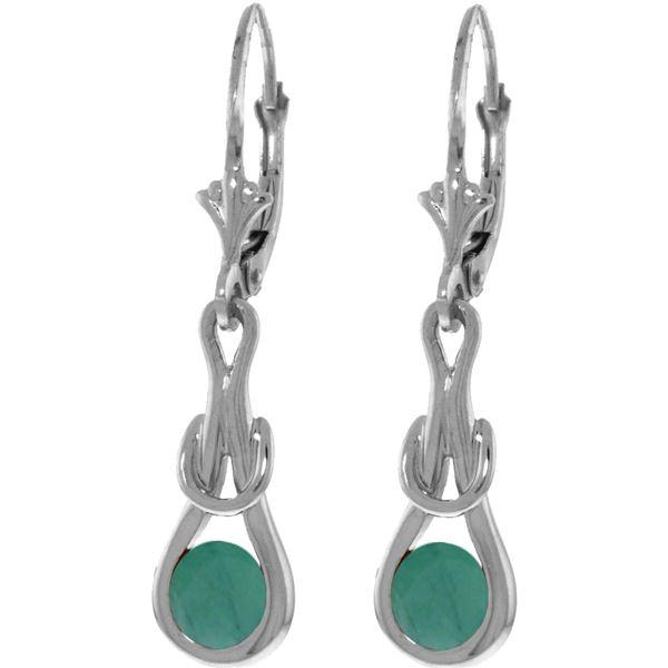 Genuine 1.30 ctw Emerald Earrings 14KT White Gold - REF-54F5Z