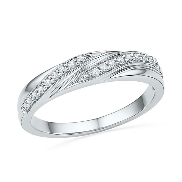 Round Diamond Simple Band Ring 1/10 Cttw 10KT White Gold