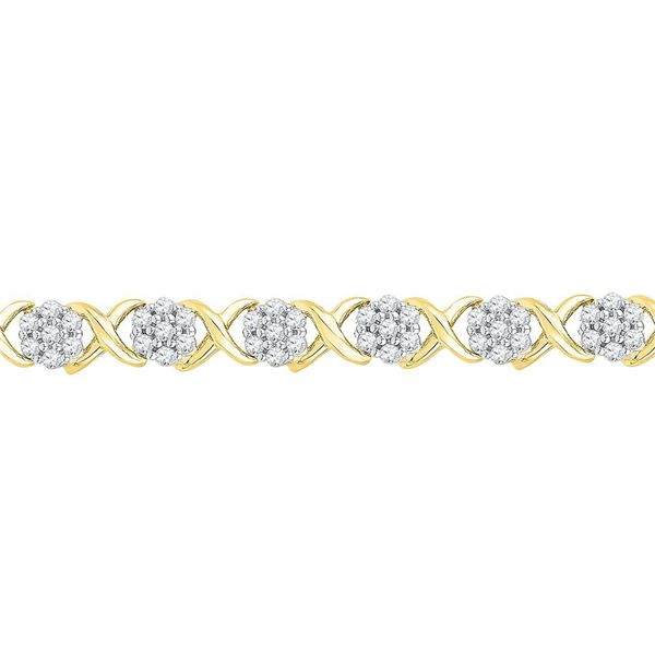 Round Diamond Flower Cluster Fashion Bracelet 1/4 Cttw 10KT Yellow Gold
