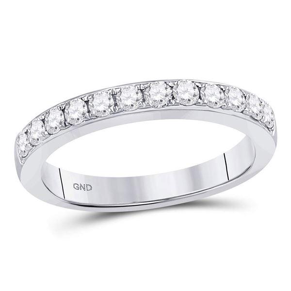 Round Diamond Single Row Fashion Band Ring 1/2 Cttw 10KT White Gold