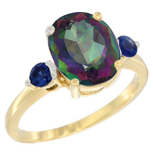 2.64 CTW Mystic Topaz & Blue Sapphire Ring 14K Yellow Gold - REF-32V3R