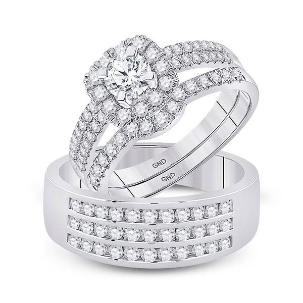 Diamond Solitaire Matching Wedding Set 1-3/4 Cttw 14KT White Gold