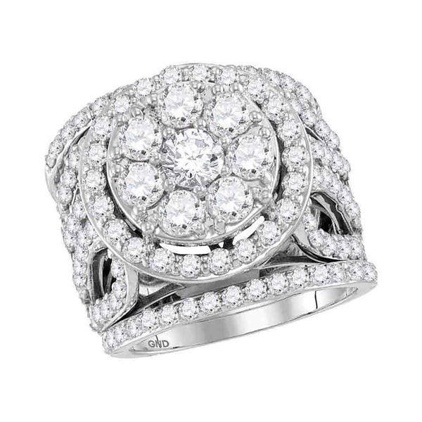 Diamond Halo Bridal Wedding Ring Band Set 4 Cttw 14KT White Gold