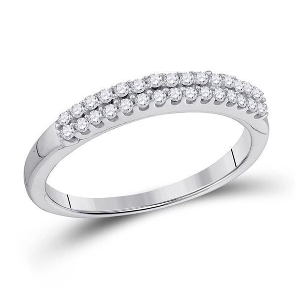 Round Diamond 2-row Wedding Anniversary Bridal Band 1/5 Cttw 14KT White Gold