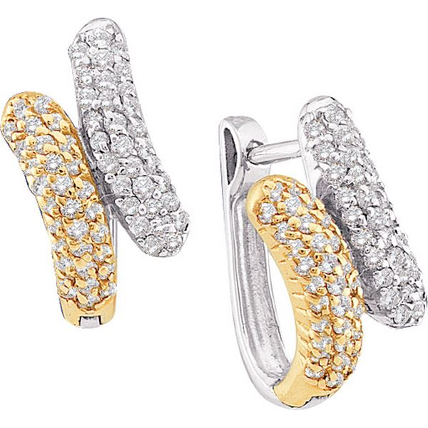 Round Diamond Bypass Huggie Earrings 1/2 Cttw 14KT Two-tone Gold