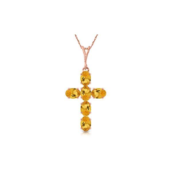 Genuine 1.50 ctw Citrine Necklace 14KT Rose Gold - REF-32P8H