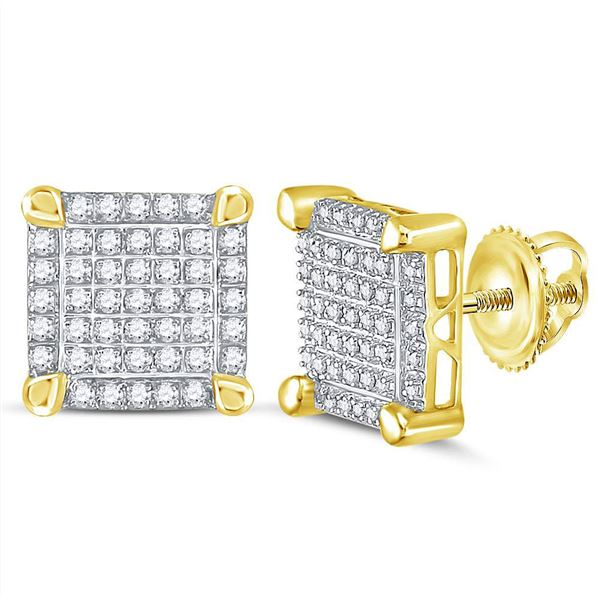Round Diamond Square Cluster Stud Earrings 1/4 Cttw 10KT Yellow Gold