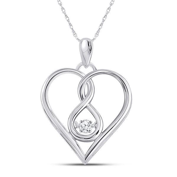 Round Moving Diamond Heart Pendant 1/20 Cttw 10KT White Gold