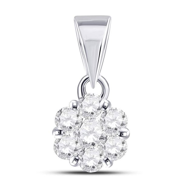 Round Diamond Flower Cluster Pendant 1/2 Cttw 14KT White Gold
