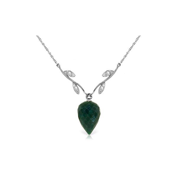 Genuine 12.92 ctw Green Sapphire Corundum & Diamond Necklace 14KT White Gold - REF-42K2V
