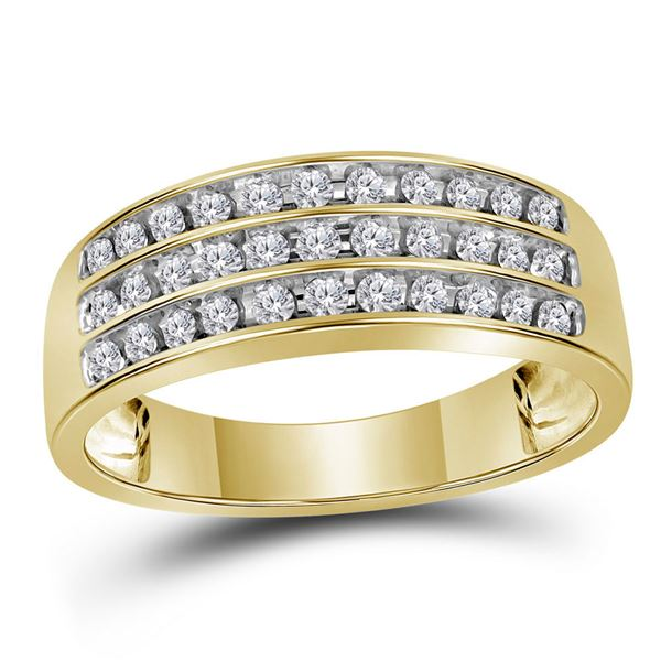 Round Diamond Wedding 3-Row Band Ring 1/2 Cttw 10KT Yellow Gold