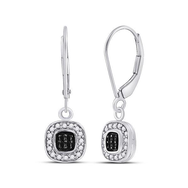 Round Black Color Enhanced Diamond Square Dangle Earrings 1/4 Cttw 14KT White Gold