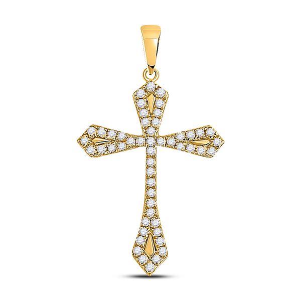 Round Diamond Gothic Cross Pendant 1/3 Cttw 10KT Yellow Gold