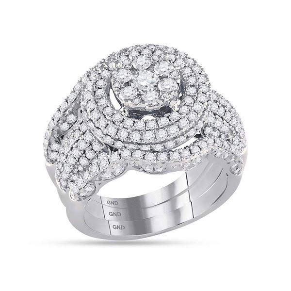 Diamond Cluster Bridal Wedding Ring Band Set 2-1/2 Cttw 14KT White Gold