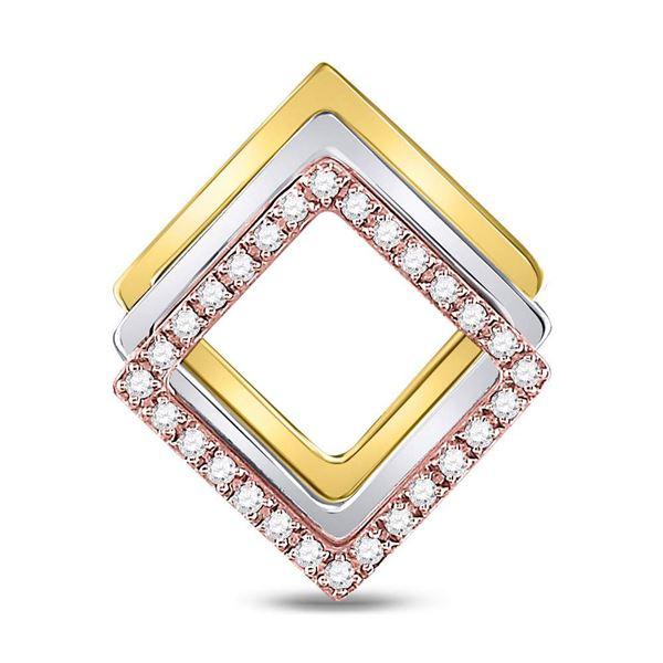 Round Diamond Diagonal Square Fashion Pendant 1/6 Cttw 10KT Tri-Tone Gold