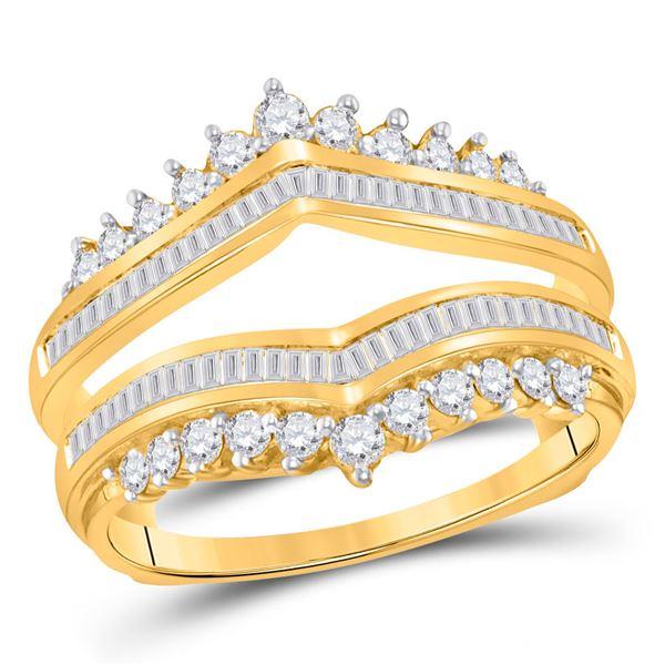 Round Diamond Wedding Wrap Ring Guard Enhancer 3/4 Cttw 14KT Yellow Gold