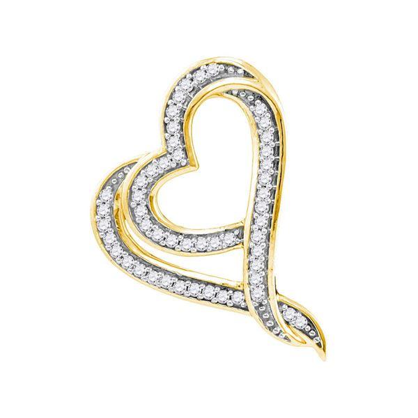Round Diamond Heart Pendant 1/8 Cttw 10KT Yellow Gold