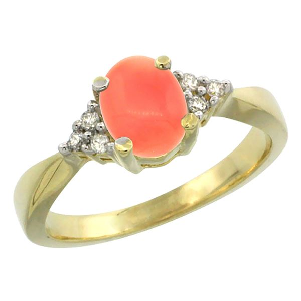 0.06 CTW Diamond & Natural Coral Ring 14K Yellow Gold - REF-43K5W