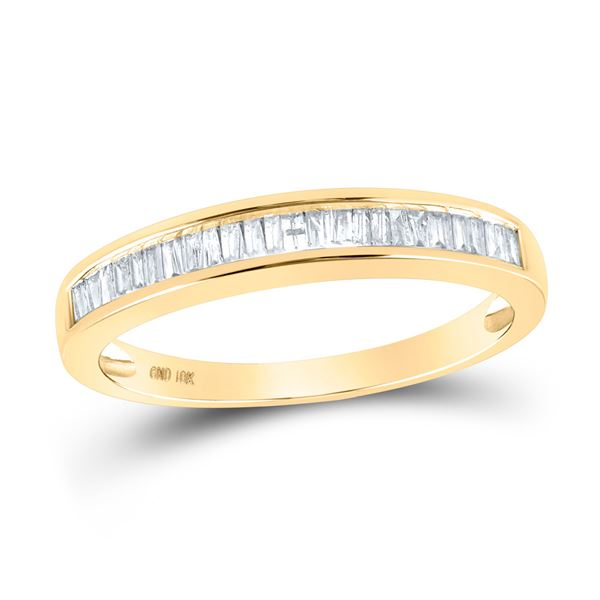 Baguette Diamond Wedding Band Ring 1/4 Cttw 10KT Yellow Gold