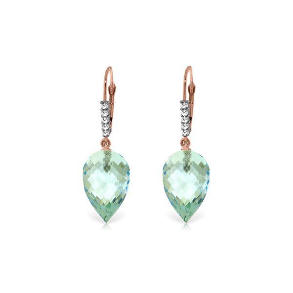 Genuine 22.65 ctw Blue Topaz & Diamond Earrings 14KT Rose Gold - REF-65R3P