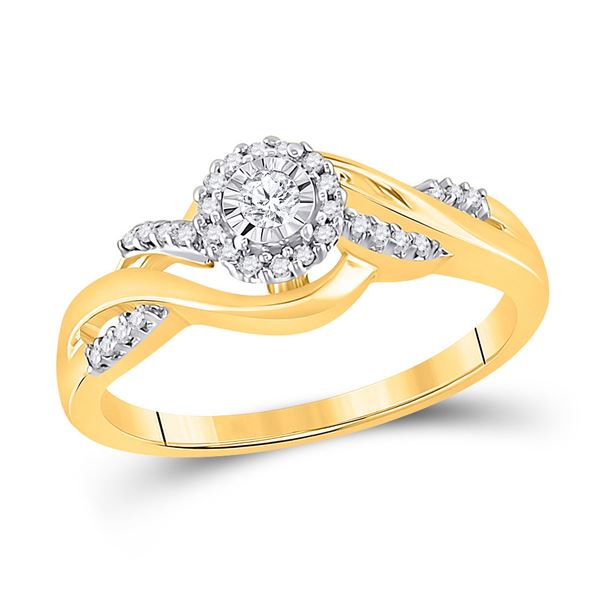 Round Diamond Solitaire Promise Ring 1/6 Cttw 10KT Yellow Gold