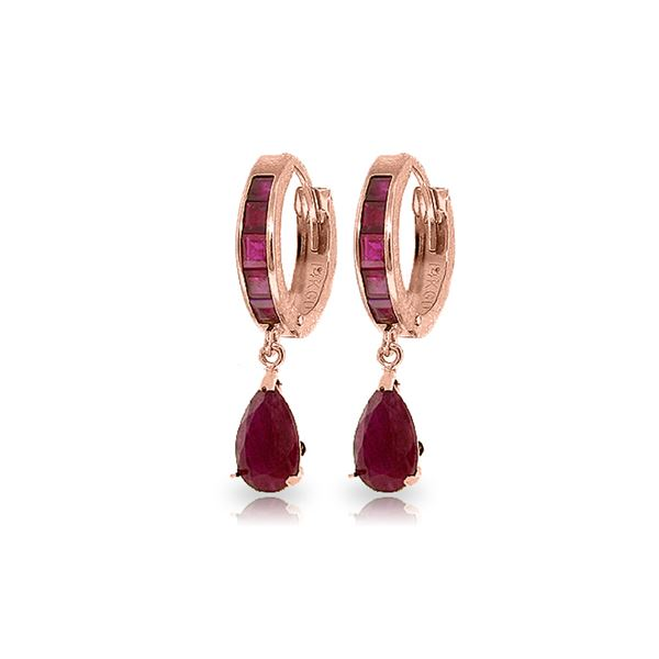 Genuine 4.8 ctw Ruby Earrings 14KT Rose Gold - REF-71T5A