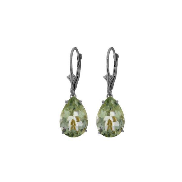 Genuine 10 ctw Green Amethyst Earrings 14KT White Gold - REF-45N3R