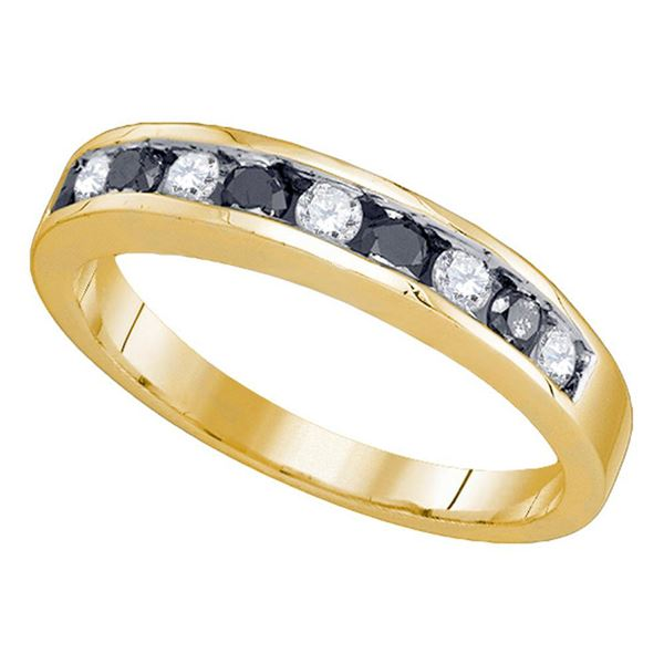 Round Blue Color Enhanced Diamond Band Ring 1/2 Cttw 10KT Yellow Gold