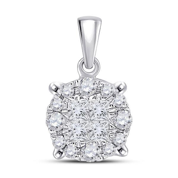 Princess Diamond Fashion Cluster Pendant 1/4 Cttw 14KT White Gold