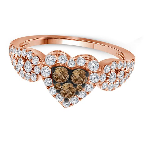 Round Brown Diamond Heart Cluster Ring 3/4 Cttw 10KT Rose Gold