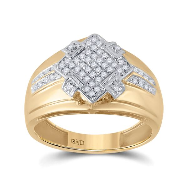 Round Diamond Offset Square Cluster Ring 1/3 Cttw 10KT Yellow Gold