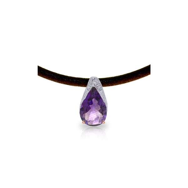 Genuine 6 ctw Amethyst Necklace 14KT Rose Gold - REF-30T5A