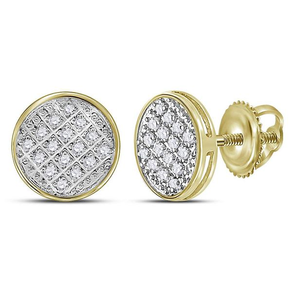 Round Diamond Circle Cluster Stud Earrings 1/12 Cttw 10KT Yellow Gold