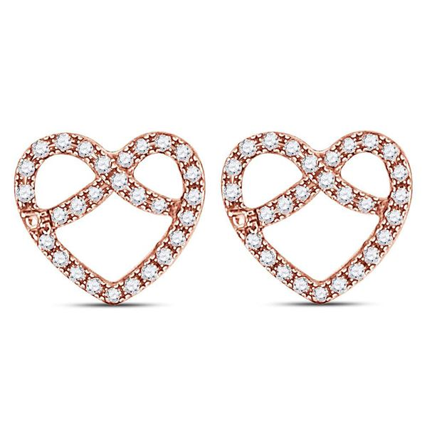 Round Diamond Pretzel Heart Earrings 1/6 Cttw 14KT Rose Gold