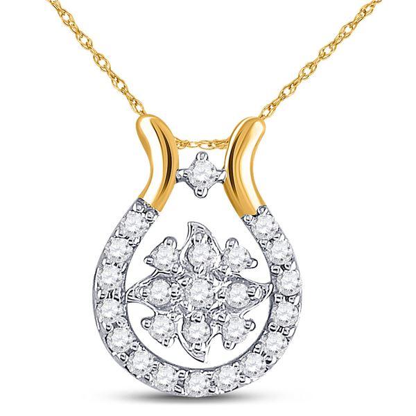 Round Diamond Cluster Pendant 1/8 Cttw 10KT Yellow Gold