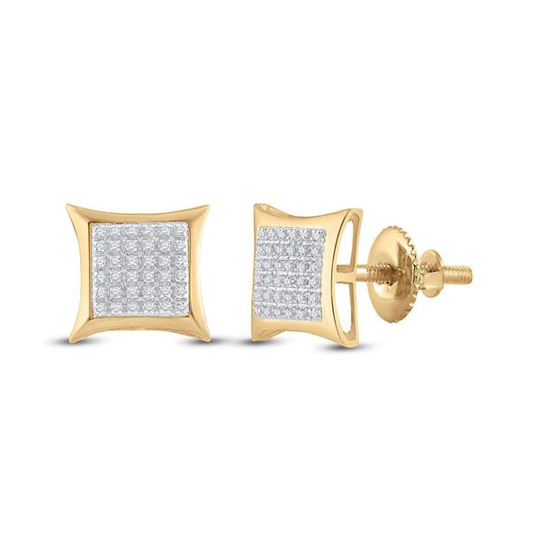 Round Diamond Kite Square Earrings 1/5 Cttw 10KT Yellow Gold