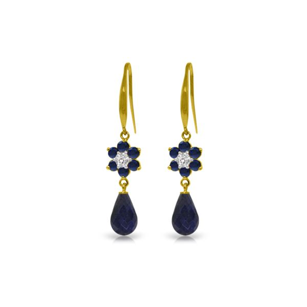 Genuine 7.61 ctw Sapphire & Diamond Earrings 14KT Yellow Gold - REF-49R8P