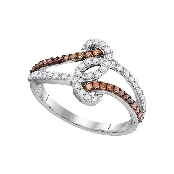 Round Brown Diamond Strand Band Ring 1/2 Cttw 10KT White Gold