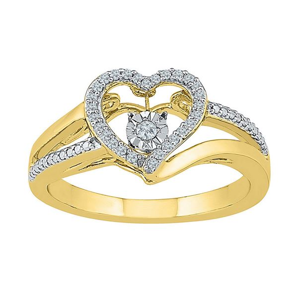 Round Diamond Heart Moving Twinkle Ring 1/10 Cttw 10KT Yellow Gold