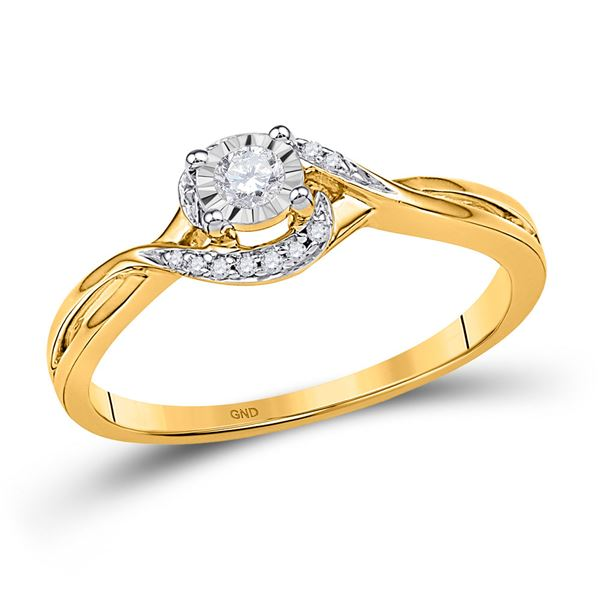 Round Diamond Solitaire Promise Ring 1/10 Cttw 10KT Yellow Gold