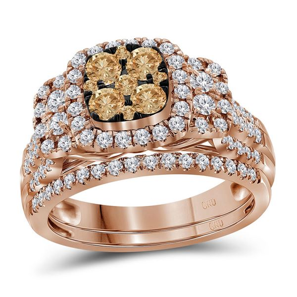 Round Brown Diamond Cluster Bridal Wedding Ring Band Set 1 Cttw 14KT Rose Gold