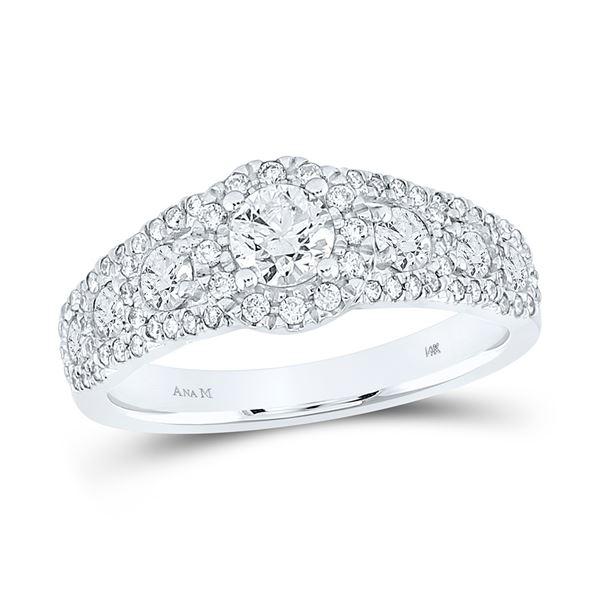 Diamond Halo Bridal Wedding Engagement Ring 1-1/4 Cttw 14KT White Gold