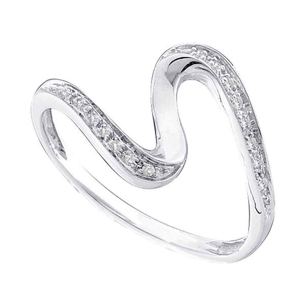 Round Diamond S Curve Band Ring 1/20 Cttw 10KT White Gold