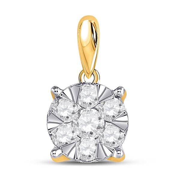 Round Diamond Flower Cluster Pendant 1/2 Cttw 14KT Yellow Gold