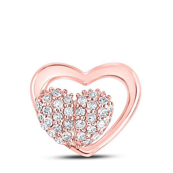 Round Diamond Heart Pendant 1/6 Cttw 10KT Rose Gold